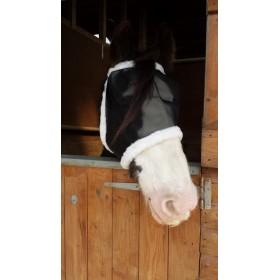 Castle Fine Mesh Padded Sheepskin Fly Mask - Black (Pony, Cob, Full Size)