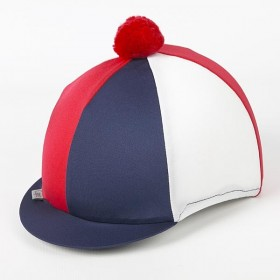Capz Triple (TRI) Colour Lycra Skull Cap Covers in Navy/Red/White