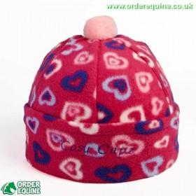 Capz Fleece Skull Cap Hat Silk - Pink with Hearts