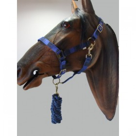 Headcollar & Lead Rope Set by Knight Rider (Navy & Blue)