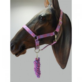 Headcollar & Lead Rope Set by Knight Rider (Pink & Lilac)