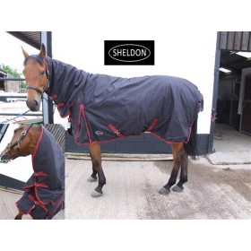 Sheldon Snug Heavyweight Combo Turnout Rug in Black with Red Piping