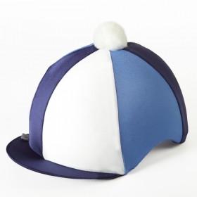Capz Triple (TRI) Colour Lycra Skull Cap Covers in Navy/Blue/White