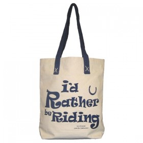 10oz Canvas Shopping Bag with Id Rather Be Riding Design
