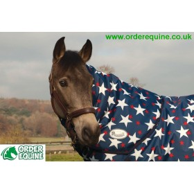Rhinegold Blizzard Attachable Neck Cover - Navy, White Stars & Red Dots