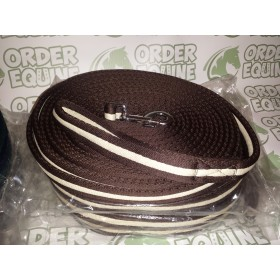 Rhinegold Padded Lunge Rein in Brown and White